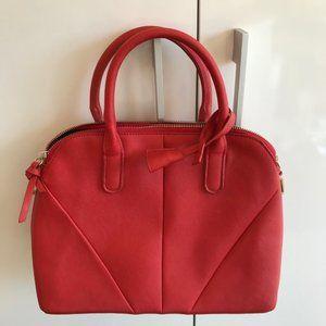 Amasie Red Bowler Style Medium Handbag w Shoulder Strap NEW